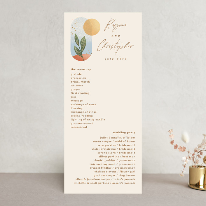 """""""Essence"""" - Modern Wedding Programs in Ivory by Laura Bolter."""