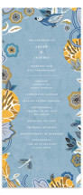 This is a blue unique wedding program by Morgan Ramberg called The Love Birds with standard printing on signature in standard.