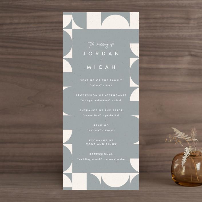 """Kenai"" - Modern Wedding Programs in Shadow by Carly Reed Walker."