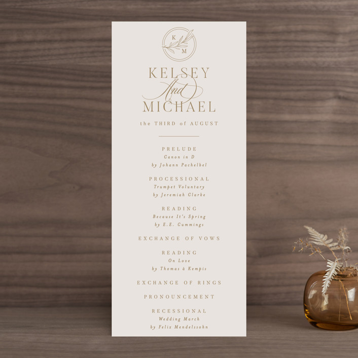 """""""Emblem"""" - Wedding Programs in Champagne by Everett Paper Goods."""