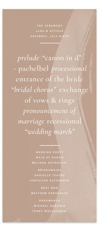Luna Wedding Programs