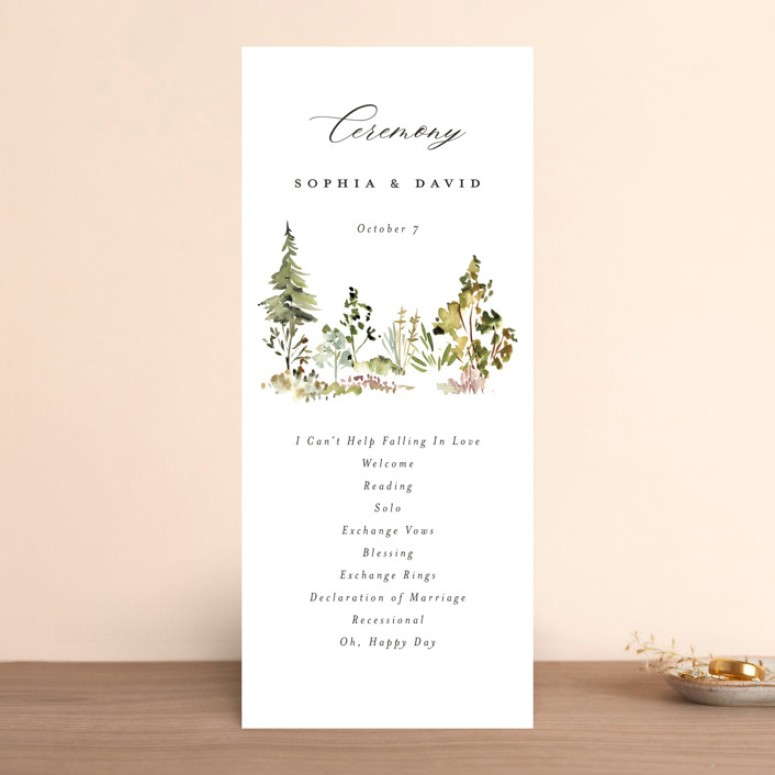 """""""Great Outdoors"""" - Rustic Wedding Programs in Forest by Petra Kern."""