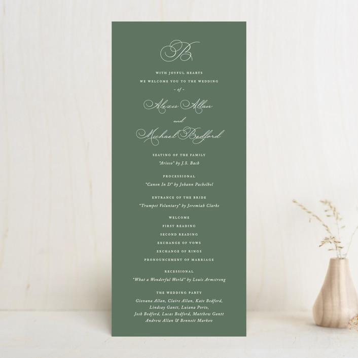 """Initial"" - Wedding Programs in Sage by Jennifer Postorino."