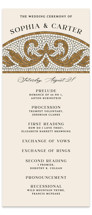 This is a brown unique wedding program by GeekInk Design called Floral mosaic with standard printing on signature in standard.