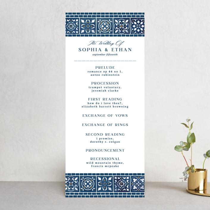 """Mediterranean Tiles"" - Wedding Programs in Ocean by GeekInk Design."