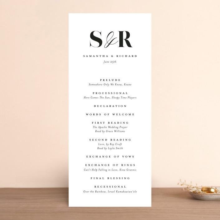 """whimsical ampersand"" - Wedding Programs in Black Tie by Laura Hamm."