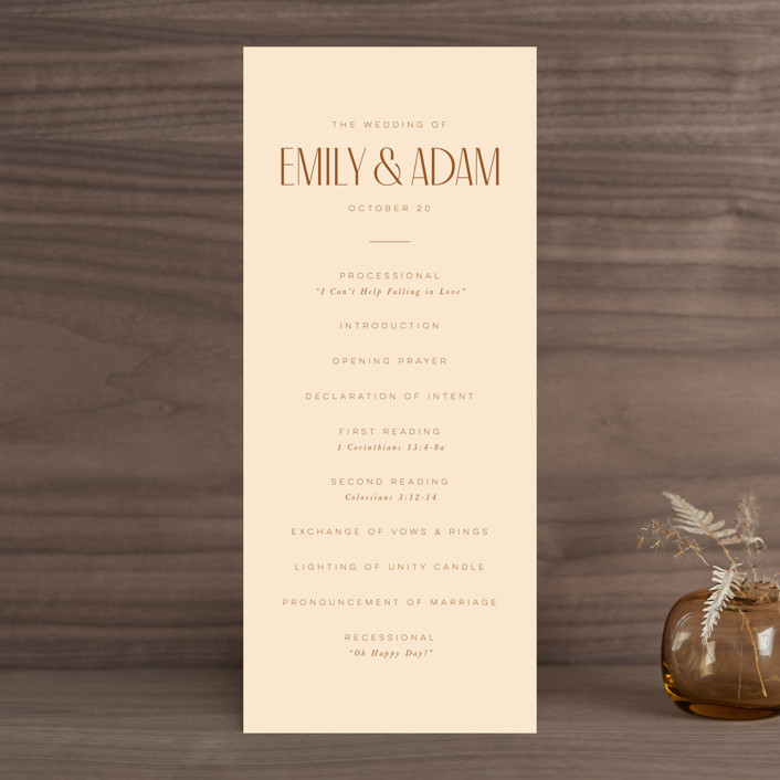 """""""Classic Touch"""" - Wedding Programs in Rust by April Astudillo."""