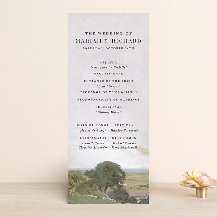 """Roman Landscape"" - Rustic Wedding Programs in Moss by Olivia Kanaley Inman."