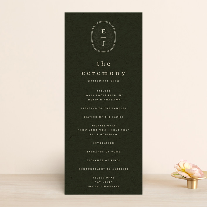 """""""delicate seal"""" - Bohemian, Modern Wedding Programs in Olive by Lindsay Stetson Thompson."""