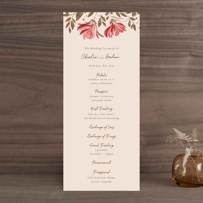 """""""Painterly Florals"""" - Wedding Programs in Scarlet by Vivian Yiwing."""