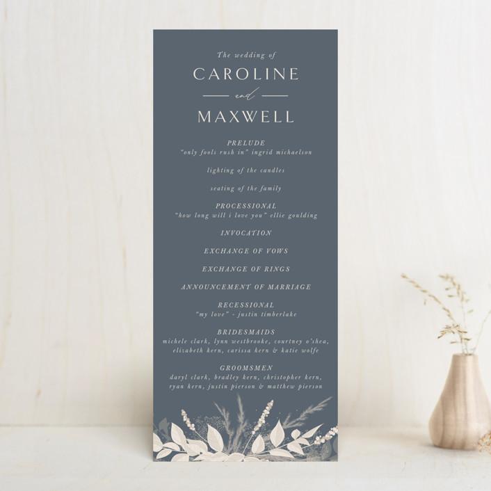 """Winter White Botanicals"" - Bohemian Wedding Programs in Slate by Erin Deegan."
