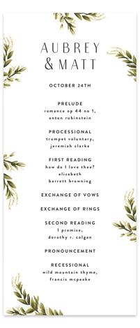 Rose Garden Wedding Programs