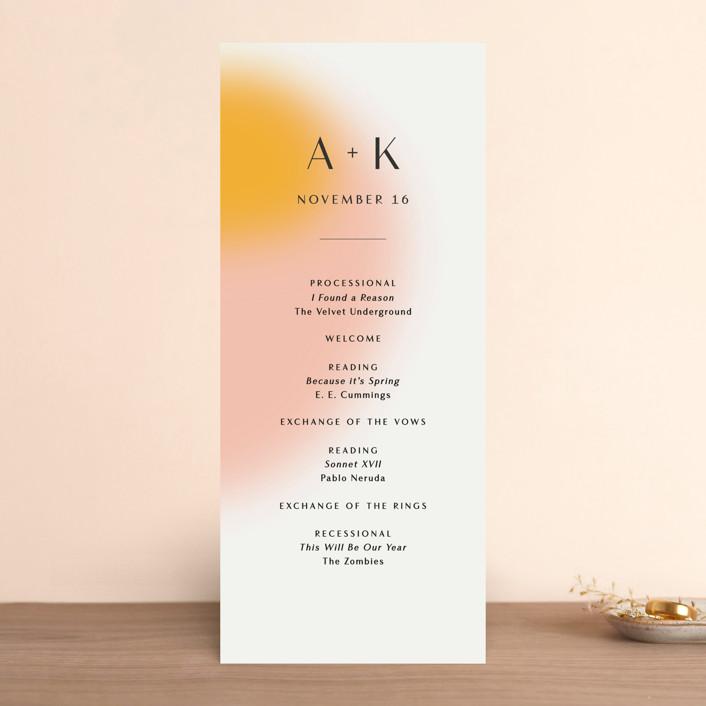 """""""Blend"""" - Modern Wedding Programs in Honeysuckle by Sarah Lenger."""