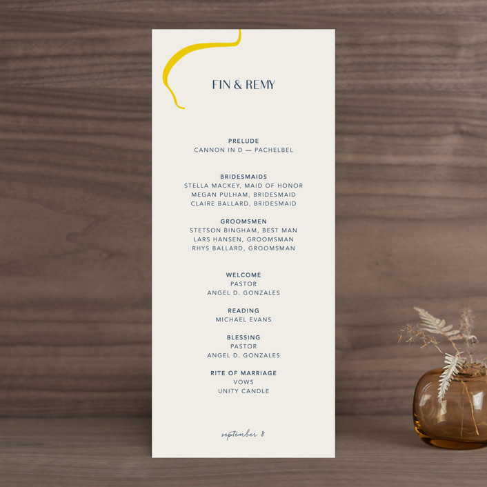 """""""Ophelia"""" - Modern Wedding Programs in Golden by Mere Paper."""