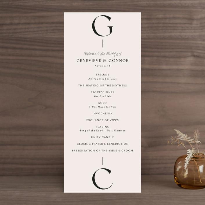 """Genevieve"" - Wedding Programs in Cream by Sandra Picco Design."