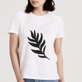This is a white t shirts for woman by Juliana Duque called Leaf a Little.