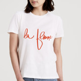 This is a white t shirts for woman by Morgan Kendall called la femme.