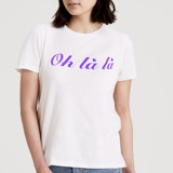 This is a white t shirts for woman by Jeremy called Oh la la.