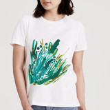 This is a white t shirts for woman by Simona Camp called Foliage Burst.