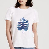 This is a white t shirts for woman by Qing Ji called Indigo Leaf.