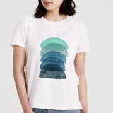 This is a white t shirts for woman by foggy details called Layer the Rainbow in Blue.