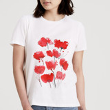 This is a white t shirts for woman by Lindsay Megahed called Poppies.
