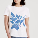 This is a white t shirts for woman by Alethea and Ruth called Leafy lines.