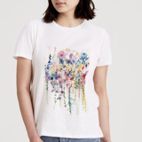 This is a white t shirts for woman by Lindsay Megahed called Floral Burst.