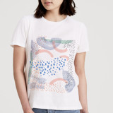 This is a white t shirts for woman by Alethea and Ruth called Abstract Dash Dots.