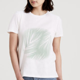 This is a white t shirts for woman by Jennifer Postorino called Airy Palms.