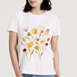 This is a white t shirts for woman by Lindsay Megahed called Among Wildflowers.