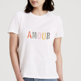 This is a white t shirts for woman by Anna Stout-Tuckwiller called Amour.