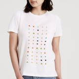 This is a white t shirts for woman by Genna Cowsert called Apertures.
