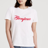 This is a white t shirts for woman by Jeremy called Bonjour.