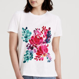 This is a white t shirts for woman by Liz Conley called Watercolor Flowers.