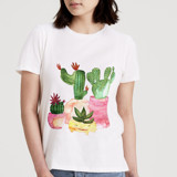 This is a white t shirts for woman by Rosana Laiz · Blursbyai called Cacti in pots.