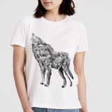 This is a white t shirts for woman by Cass Loh called howling wolf.