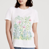 This is a white t shirts for woman by Rebel Draw called Pastel painted meadow.