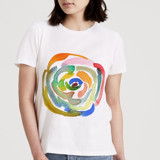 This is a white t shirts for woman by Yaling Hou Suzuki called rainbow rose.