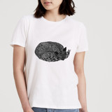 This is a white t shirts for woman by Nikita Jariwala called Sleepy Fox.