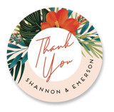 This is a pink wedding favor label by Joanna Griffin called Tropical Oasis with standard printing on uncoated sticker paper in sticker.