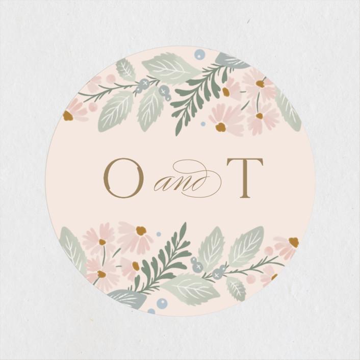 """""""Wild Flora"""" - Wedding Favor Stickers in Blossom by Kristen Smith."""
