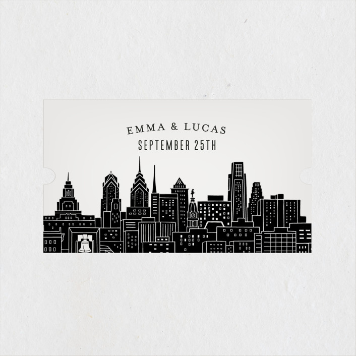 """Big City - Philadelphia"" - Wedding Favor Stickers in Light Taupe by Hooray Creative."