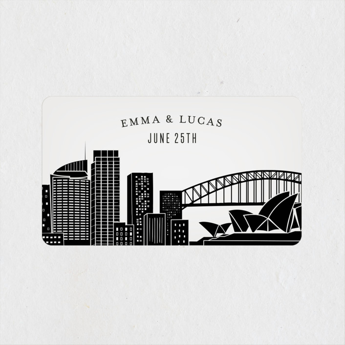 """Big City - Sydney"" - Wedding Favor Stickers in Light Taupe by Hooray Creative."