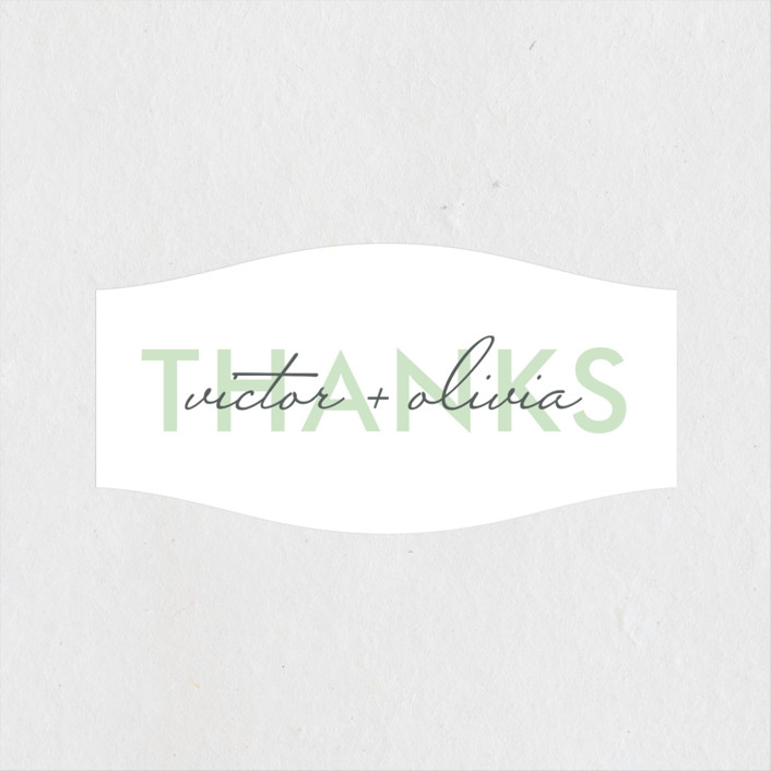 """""""Viva Las Marriage"""" - Modern Wedding Favor Stickers in Soft Leaf by Candice Leigh."""