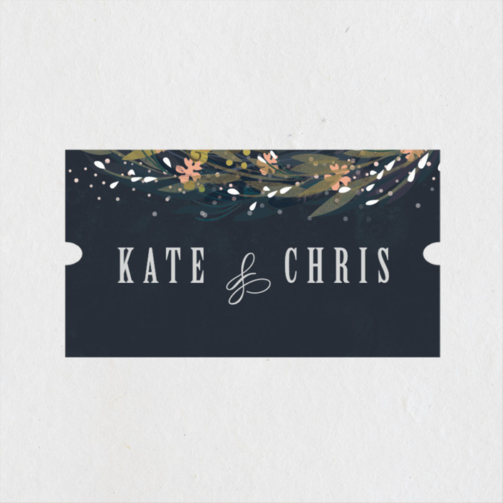 """""""Floral Crown"""" - Rustic Wedding Favor Stickers in Navy by Lori Wemple."""