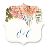 This is a pink wedding favor label by Wildfield Paper Co. called Garden Rose with standard printing on uncoated sticker paper in sticker.