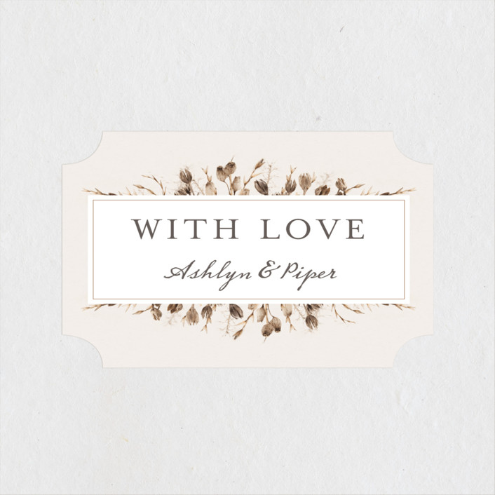 """""""Gone To Seed"""" - Bohemian Wedding Favor Stickers in Taupe by Honeybunch Studio."""