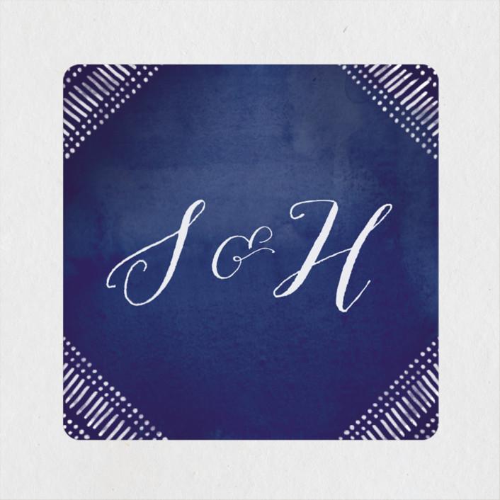 """Indigo Print"" - Bohemian Wedding Favor Stickers in Navy by Pistols."
