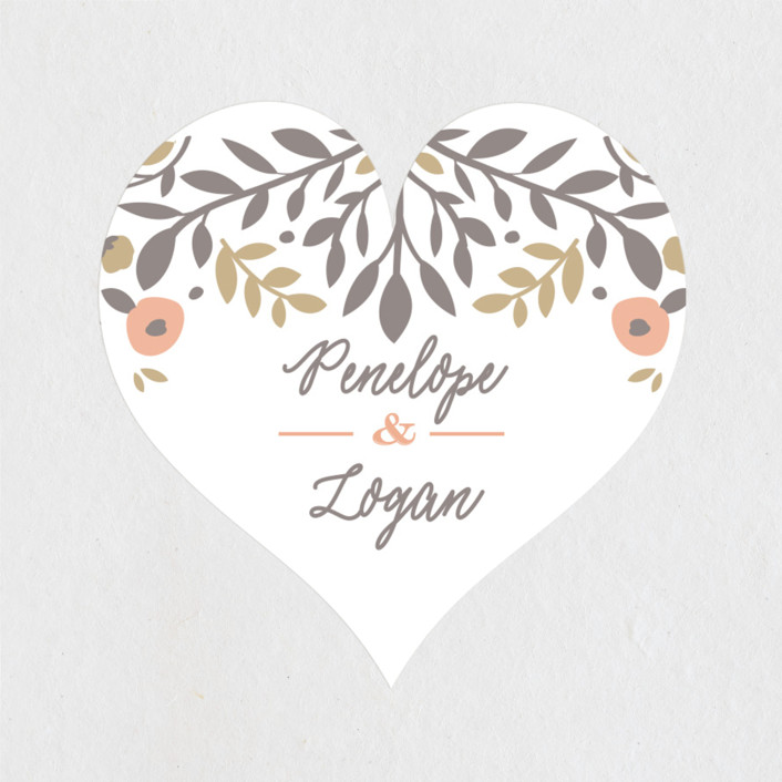 """""""Lover's Floral Frame"""" - Wedding Favor Stickers in Coral by Andrea Snaza."""